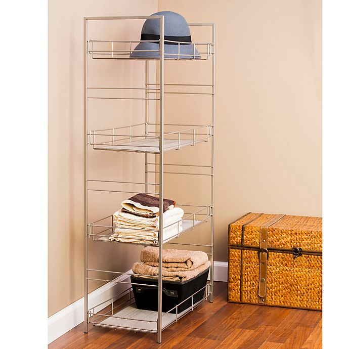Alternate image 1 for Adjustable 4-Tier Mesh Accent Shelf in Satin Nickel Finish