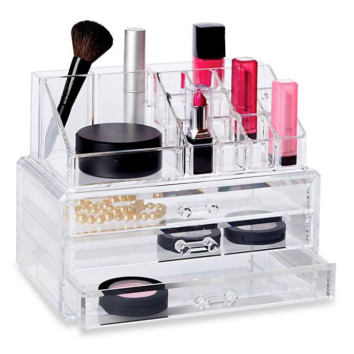 Alternate image 1 for Deluxe 2-Piece 3 Drawer Cosmetic Organizer Set