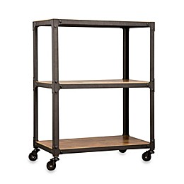 Wood and Metal 3-Tier Rolling Cart