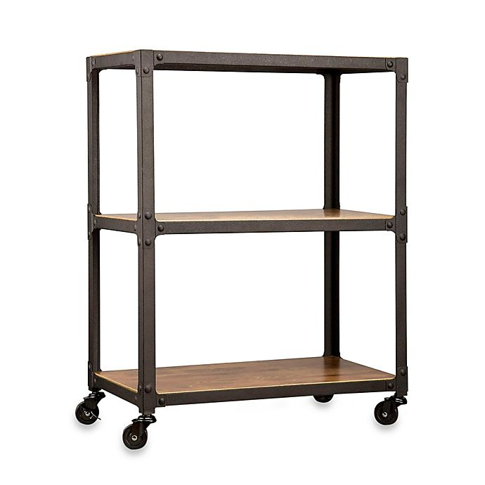 Alternate image 1 for Wood and Metal 3-Tier Rolling Cart
