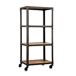 Wood and Metal 4-Tier Rolling Cart