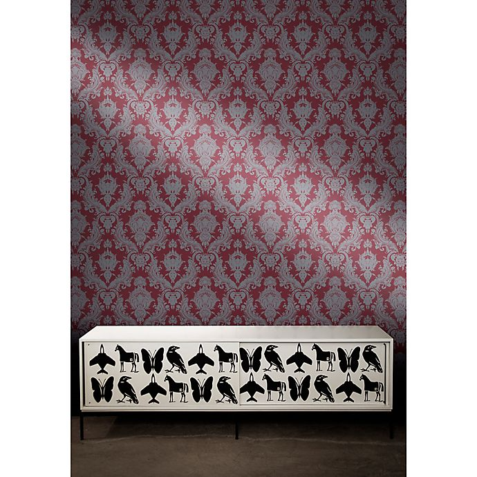 Alternate image 1 for Tempaper® Double Roll Removable Wallpaper in Damsel Silver Plum