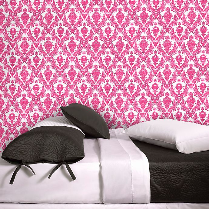 Tempaper 174 Removable Wallpaper In Damsel White And Fuschia
