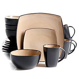 Gibson Home Amalfi 16-Piece Dinnerware Set in Taupe