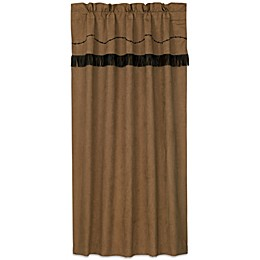 HiEnd Accents Barbwire Rod Pocket Embroidered Window Curtain Panel and Valance in Tan