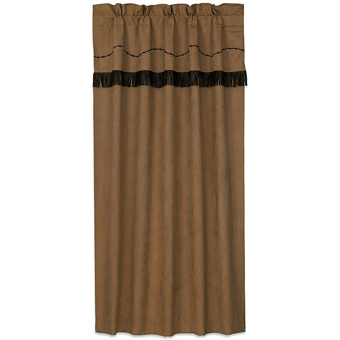 Alternate image 1 for HiEnd Accents Barbwire Rod Pocket Embroidered Window Curtain Panel and Valance in Tan