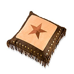 HiEnd Accents Embroidered Star Throw Pillow with Metal Studs and Fringe