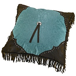HiEnd Accents Cheyenne Scalloped Throw Pillow in Turquoise