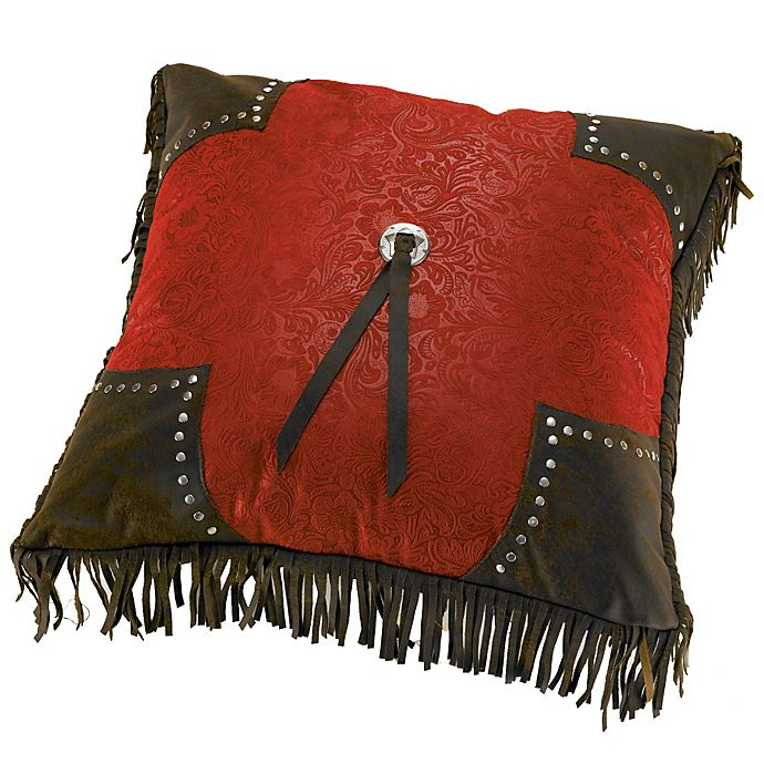 Alternate image 1 for HiEnd Accents Cheyenne Scalloped Throw Pillow in Red