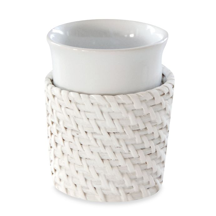 Caribbean white rattan tumbler bed bath beyond - White wicker bathroom accessories ...