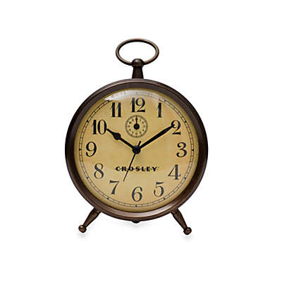 Crosley Vintage Metal Finial Alarm Clock in Antique Bronze
