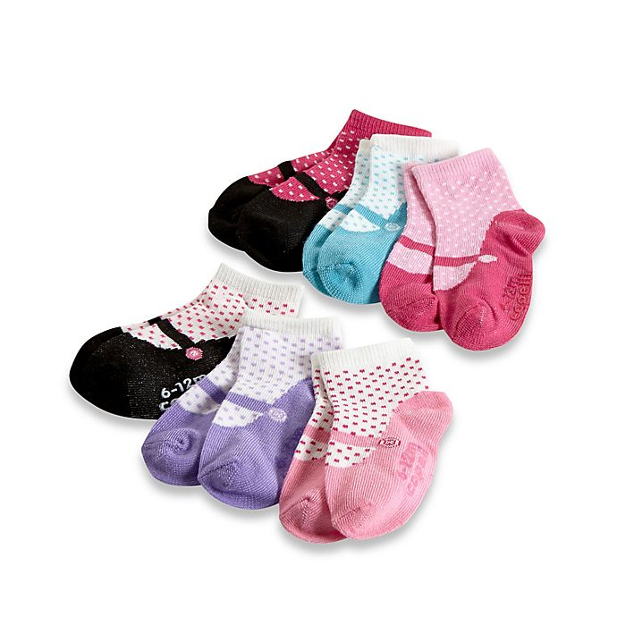 Alternate image 1 for Capelli New York 6-Pack Size 12-24M Miss Mary Jane Socks with Grippers