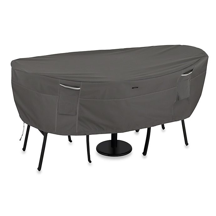 Alternate image 1 for Classic Accessories® Ravenna Large Patio Bistro Table and Chair Cover in Dark Taupe