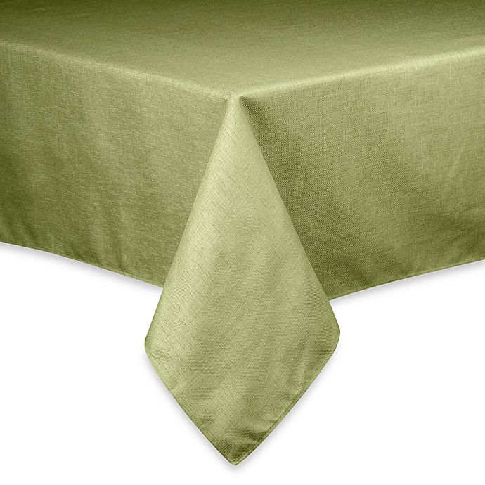Alternate image 1 for Basketweave 60-Inch x 84-Inch Oval Tablecloth in Sage