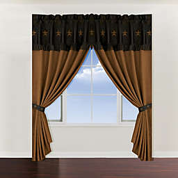 HiEnd Accents Laredo 84-Inch Window Curtain Panel with Valance in Chocolate