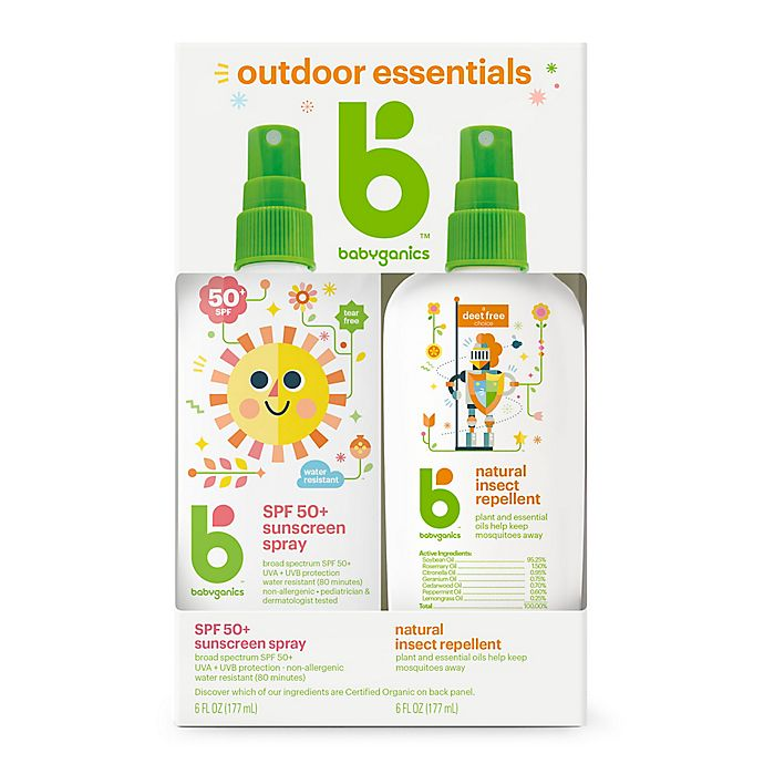 Alternate image 1 for Babyganics® 2-Pack Mineral-Based Sunscreen Spray + Natural Insect Repellent