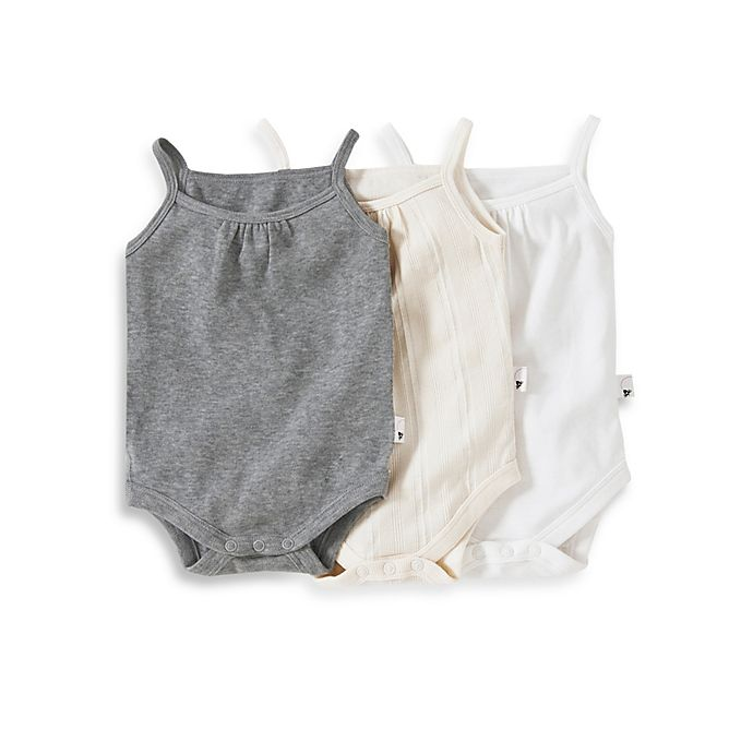 81cd5ce592e9 Burt s Bees Baby™ 3-Pack Organic Cotton Camisole Bodysuit in Grey ...