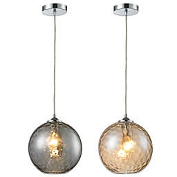 HGTV Home Watersphere 1-Light Pendant Light in Polished Chrome with Recessed Adapter Kit