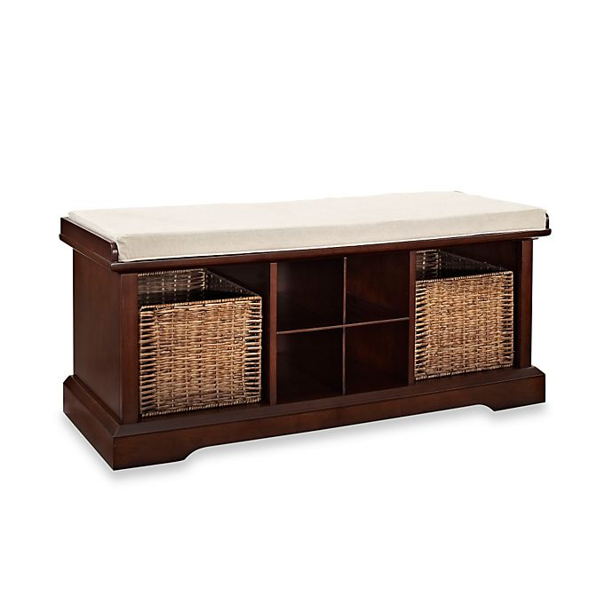 Fine Crosley Brennan Entryway Storage Bench Bookcase In Mahogany Pabps2019 Chair Design Images Pabps2019Com