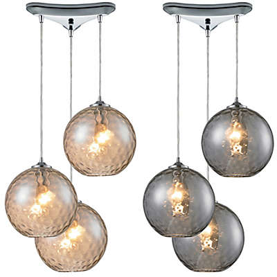 HGTV Home Watersphere 3-Light Pendant Light in Polished Chrome