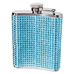 Oggi Stainless Steel Bling 6-oz Hip Flask with Filling Funnel in Blue