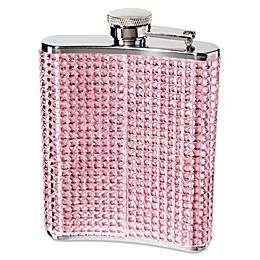 Oggi Stainless Steel Bling 6-oz Hip Flask with Filling Funnel in Pink