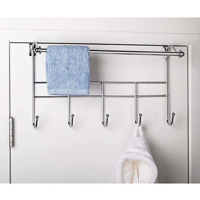 Alternate image 1 for Over-the-Door Hook Rack with Towel Bar