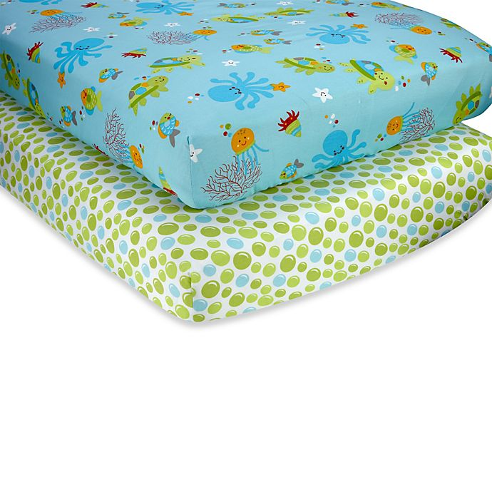 Alternate image 1 for Little Bedding by NoJo® Ocean Dreams Fitted Crib Sheet (Set of 2)