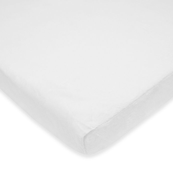 Alternate image 1 for TL Care® Heavenly Soft Chenille Fitted Crib Sheet in White