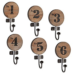 Southern Enterprises Dakota 6-Piece Numbered Hook Set