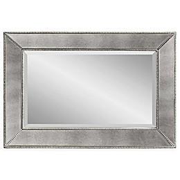 Bassett Mirror Company Antique Beaded Mirror in Silver