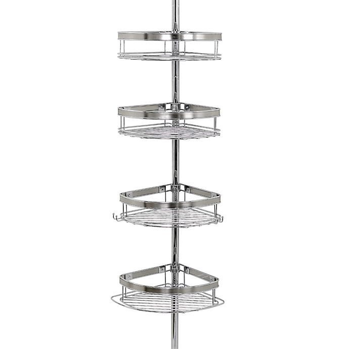 Alternate image 1 for Zenna Home® Tension Corner Pole Shower Caddy in Chrome