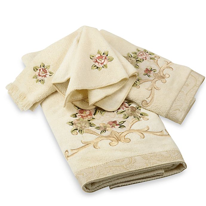 Alternate image 1 for Avanti Rosefan Fingertip Towel in Ivory