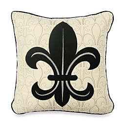 Donna Sharp Fleur de Lis Scroll Decorative Pillow in Black/Tan