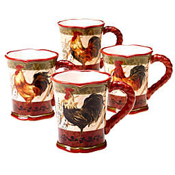 Certified International Tuscan Rooster Mugs (Set of 4)