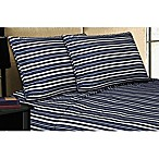 Micro Lush Microfiber King Sheet Set in Navy Stripe