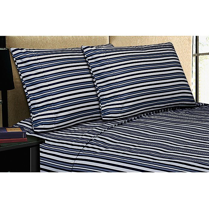 Microfiber Towels Bed Bath And Beyond: Buy Micro Lush Microfiber Twin Sheet Set In Navy Stripe