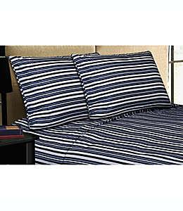 Home Dynamix Micro Lush Set de sábanas queen de microfibra a rayas en azul marino