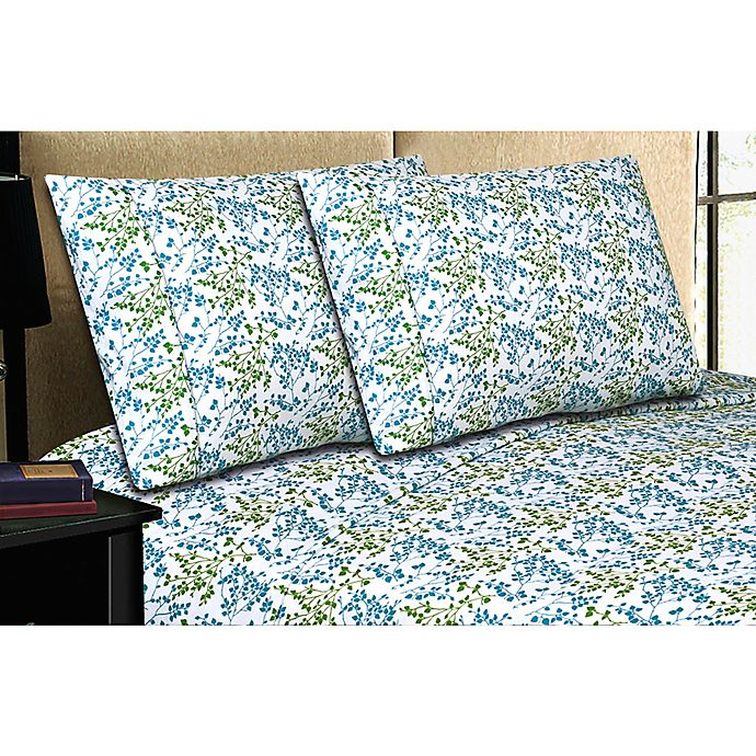 Alternate image 1 for Micro Lush Microfiber Twin Sheet Set in Blue Floral