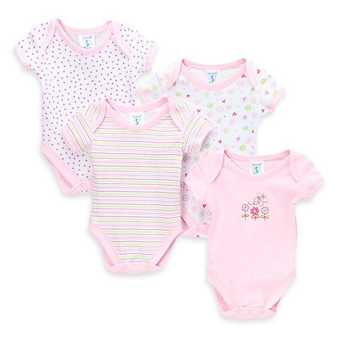 Alternate image 1 for SpaSilk® 4-Pack Flower Print Bodysuit Set in Pink