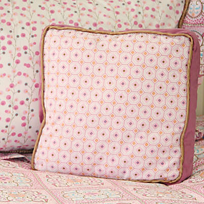 Caden Lane® Modern Vintage Girl Square Pillow in Pink