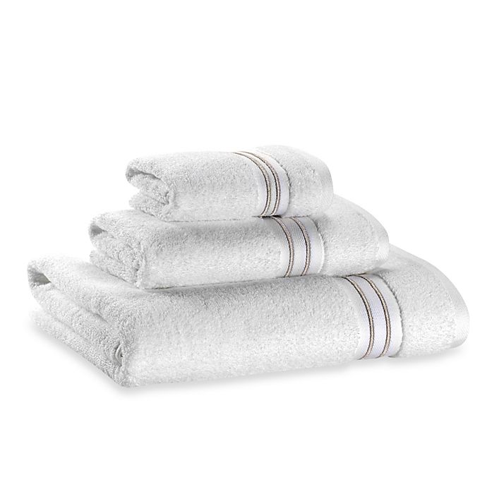 Alternate image 1 for Wamsutta® Hotel Micro-Cotton Bath Towel in White/Tan