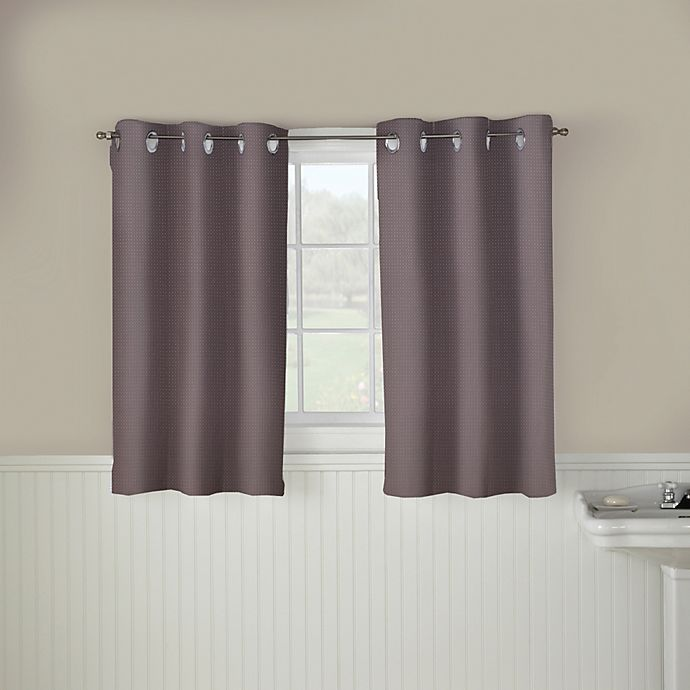 Alternate image 1 for Hookless® Waffle 45-Inch Bath Window Curtain in Dark Grey