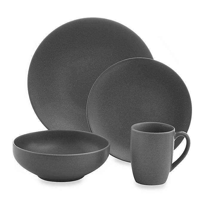 Alternate image 1 for Gibson Home Paradiso 16-Piece Round Dinnerware Set in Grey