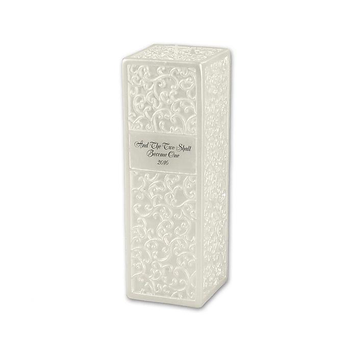 Alternate image 1 for Ivy Lane Design™ Embossed Flourish Square Pillar Candle in Ivory
