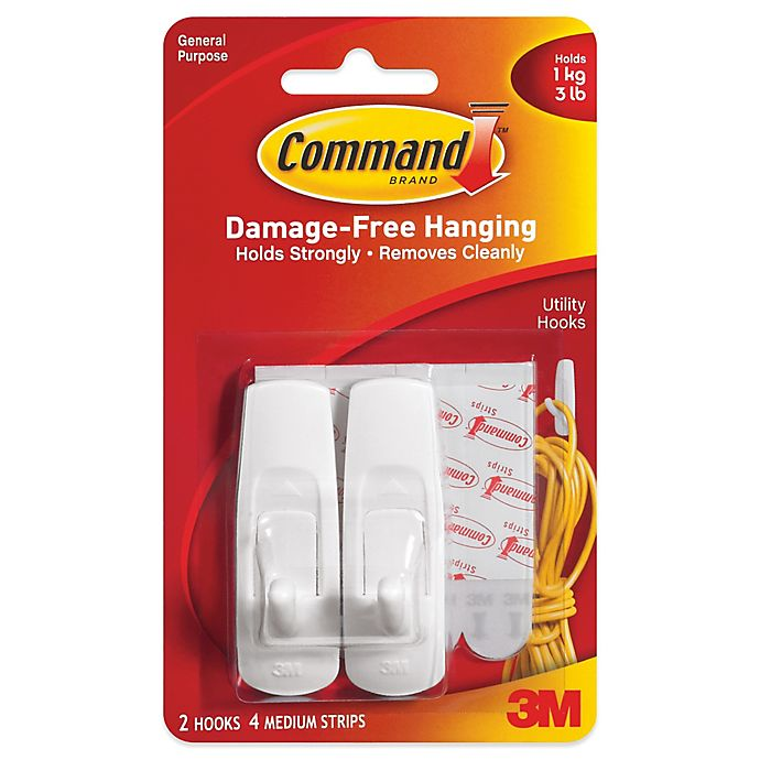 Alternate image 1 for 3M Command™ 2-Pack Medium Hooks in White