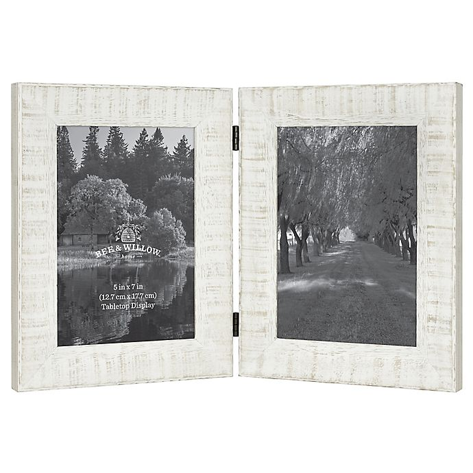 Alternate image 1 for Bee & Willow™ Home Rustic Wood 2-Photo 5-Inch x 7-Inch Hinged Picture Frame in White