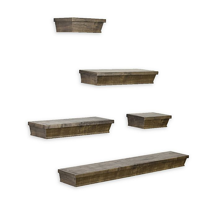Alternate image 1 for SALT™ 5-Piece Rustic Wood Gallery Shelf Set