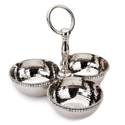 Stainless Beaded 13 Inch 3 Bowl Relish Condiment Appetizer Nut And Candy Server Serving Tray Bed Bath Beyond