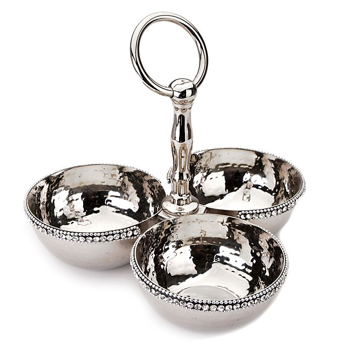 Alternate image 1 for Classic Touch Hammered Stainless Steel 3-Bowl Condiment Dish